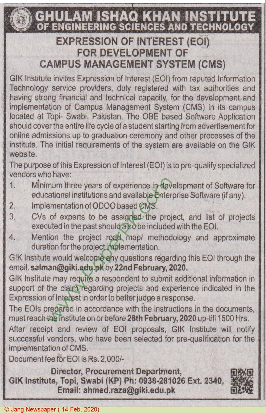 Gik Institute Of Engineering Sciences & Technology Swabi Tender Notice