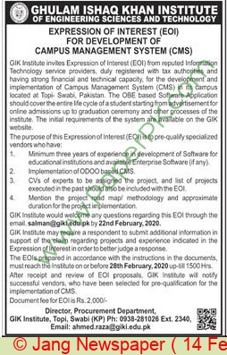 Ghulam Ishaq Khan Institute Of Engineering Sciences & Technology Karachi Tender Notice