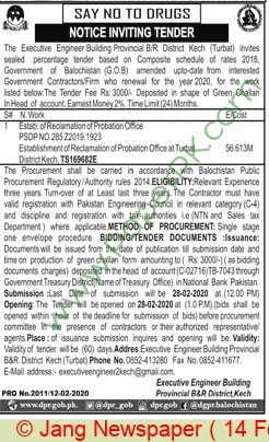 Provincial B & R Division Kech Tender Notice