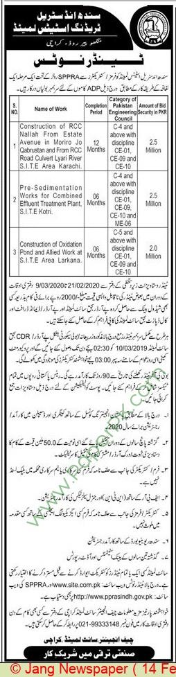 Sindh Industrial Trading Estate Limited Karachi Tender Notice