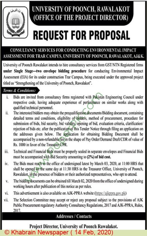 University Of Poonch Rawalakot Tender Notice