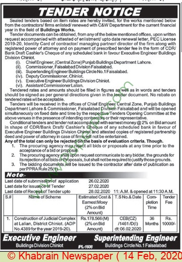 Buildings Division Chiniot Tender Notice
