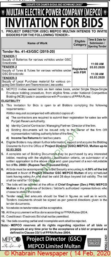Mepco Multan Tender Notice.