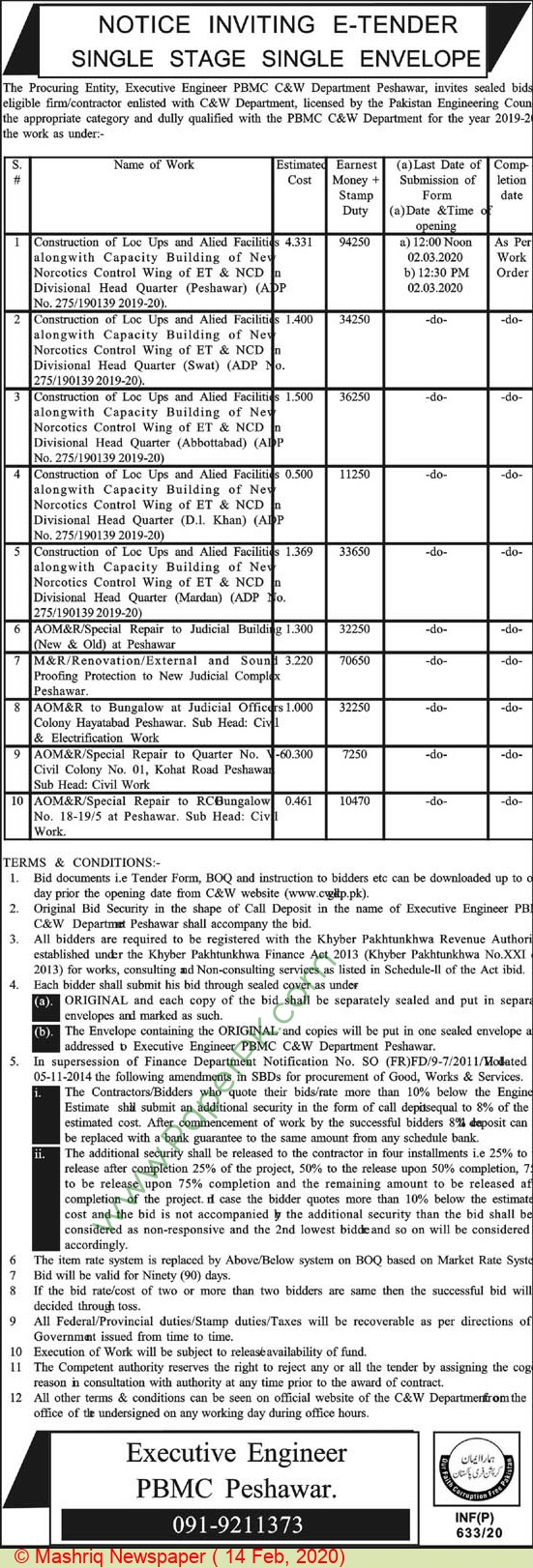 C & W Department Peshawar Tender Notice