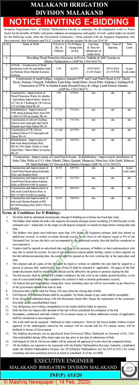 Irrigation Department Malakand Tender Notice