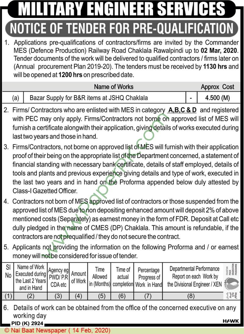 Military Engineering Services Rawalpindi Tender Notice