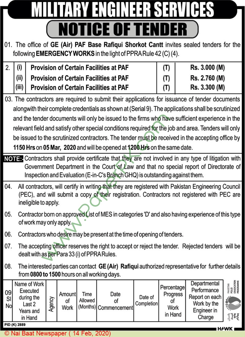 Military Engineering Services Shorkot Cantt Tender Notice