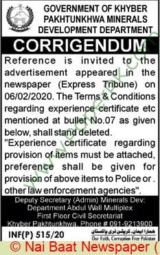 Mines & Minerals Development Department Peshawar Tender Notice