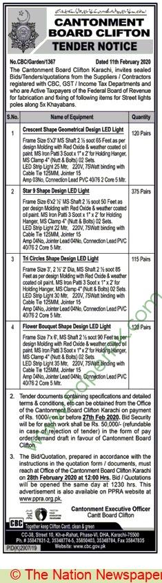 Cantonment Board Clifton Karachi Tender Notice