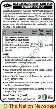 Pcaa Karachi Tender Notice