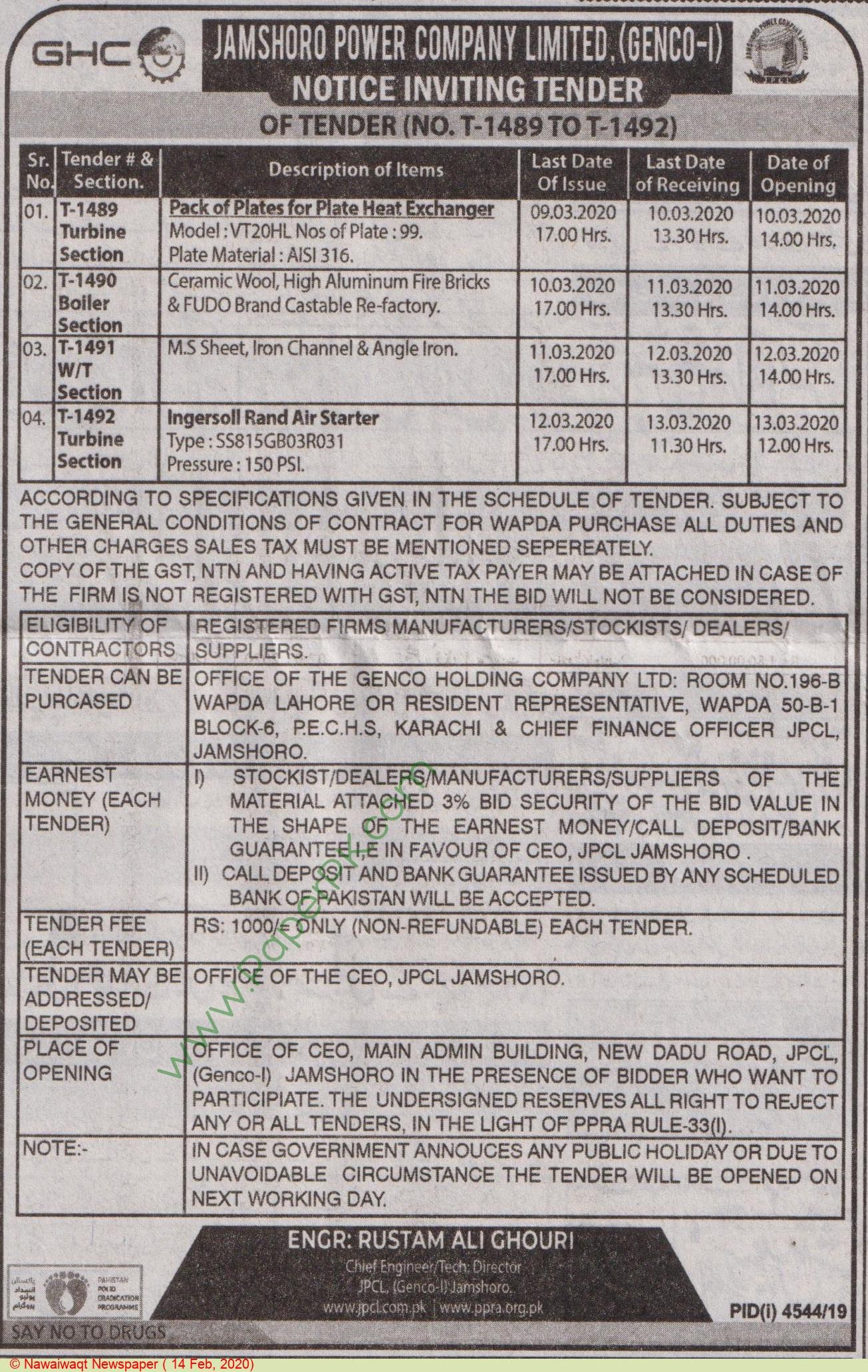 Jamshoro Power Company Limited Jamshoro Tender Notice