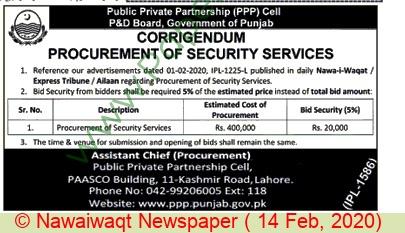 P & D Board Lahore Tender Notice