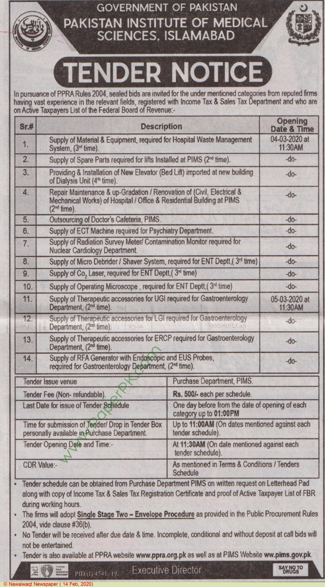 Pims Islamabad Tender Notice