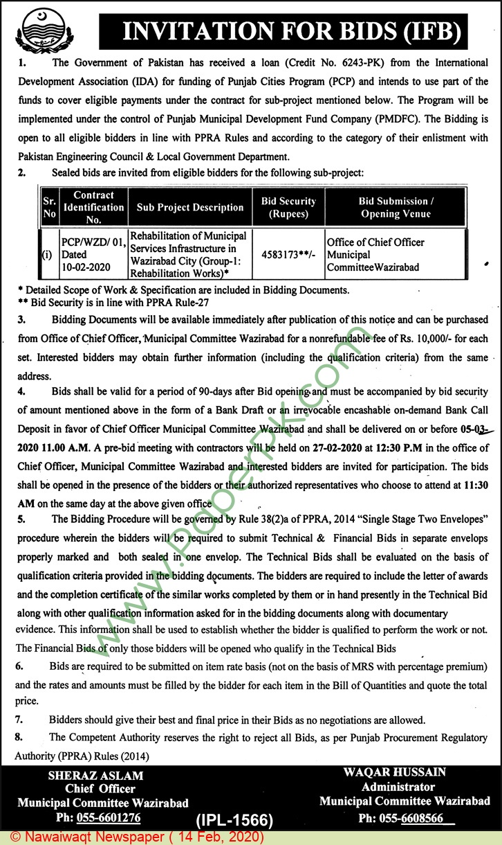 Municipal Committee Wazirabad Tender Notice.