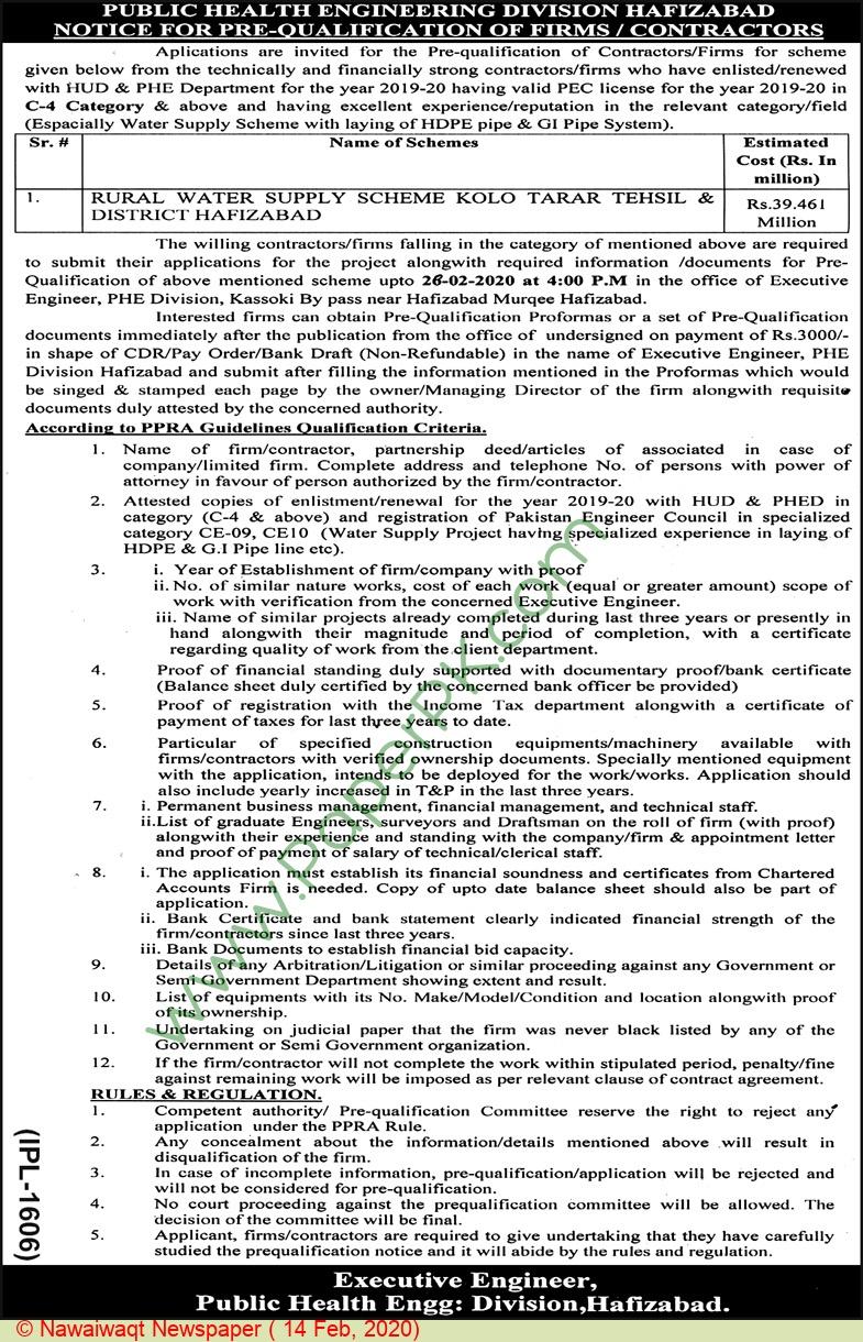 Phe Division Hafizabad Tender Notice