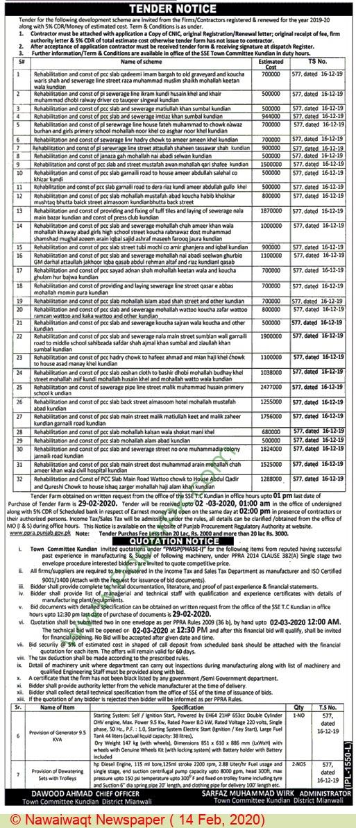 Town Committee Mianwali Tender Notice