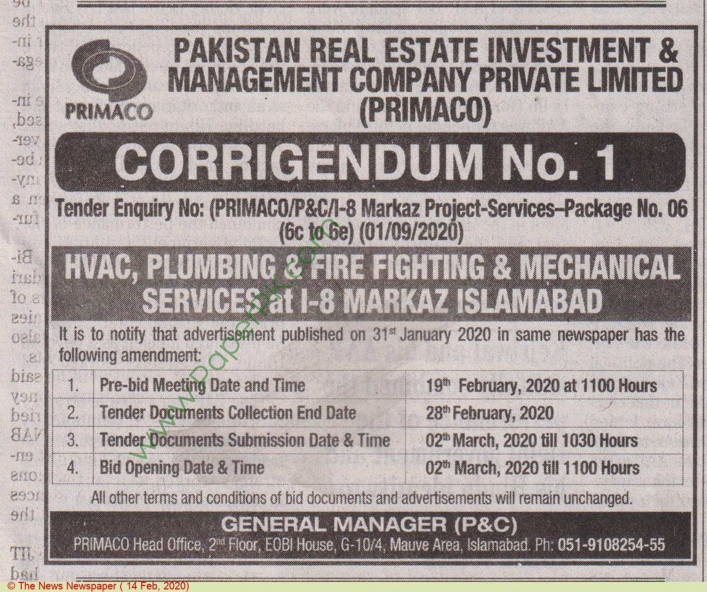 Primaco Islamabad Tender Notice