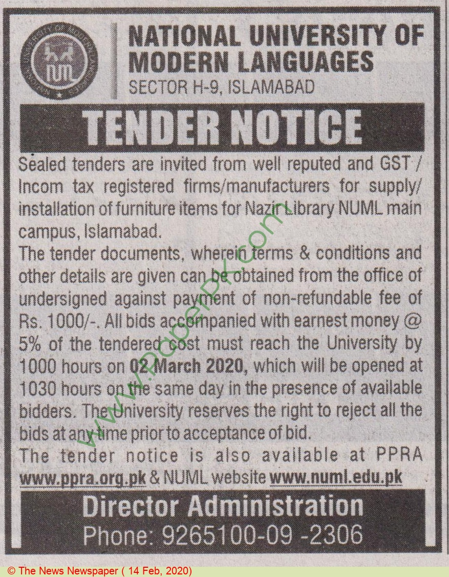 Numl Islamabad Tender Notice