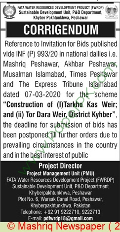 Fata Water Resources Development Project Peshawar Tender Notice 2