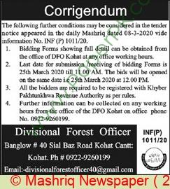 Forest Department Kohat Tender Notice