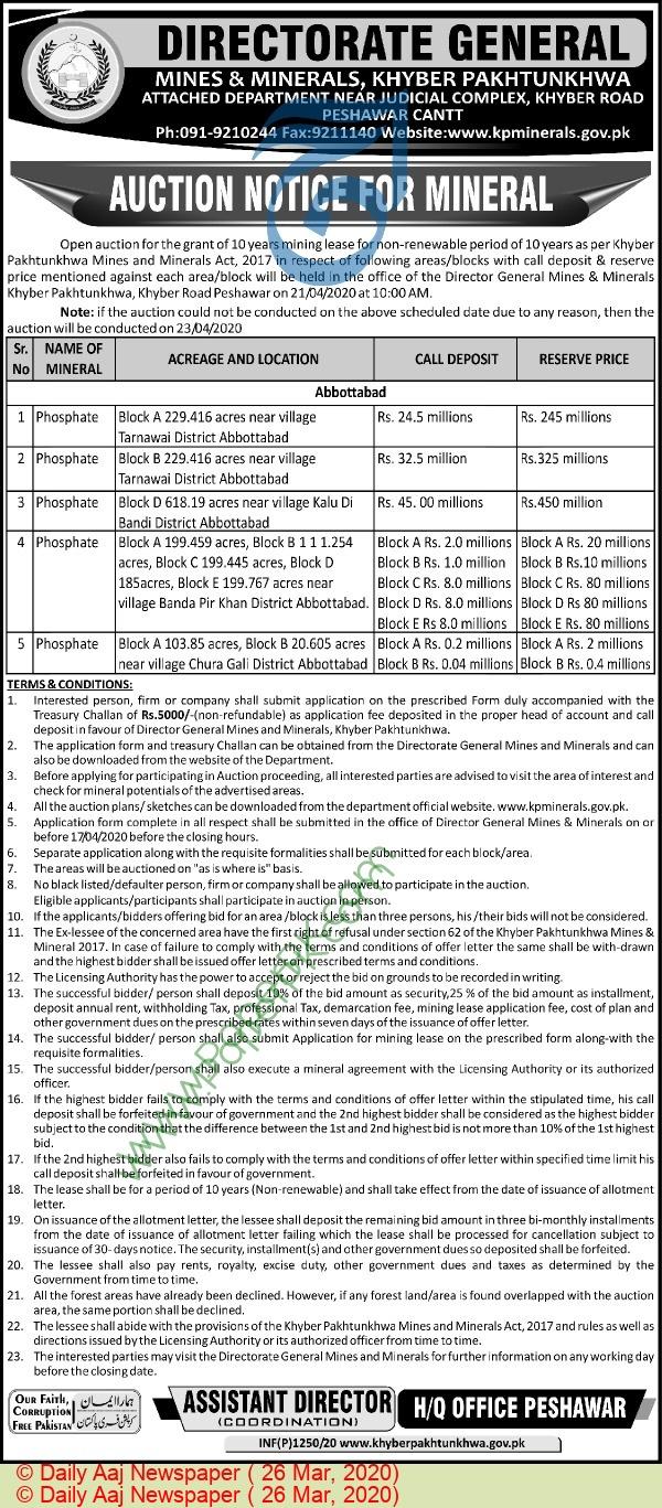 Mines & Minerals Department Peshawar Tender Notice