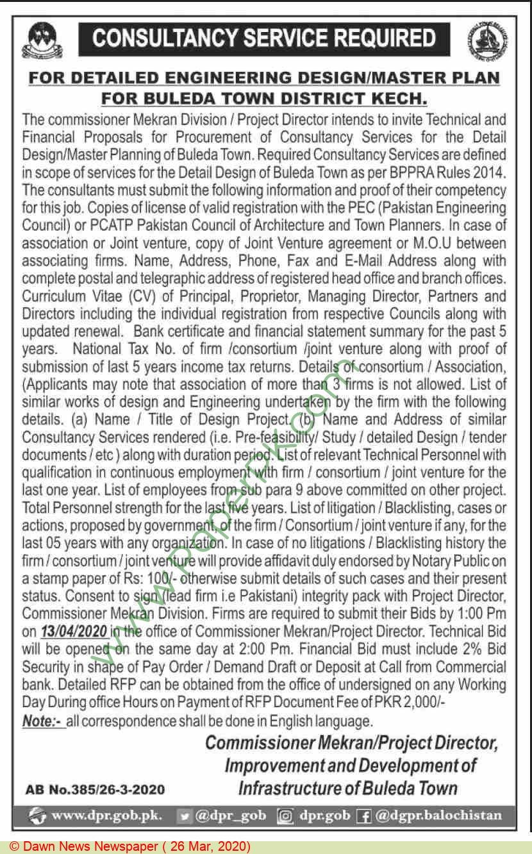 Improvement & Development Of Infrastructure Of Buleda Town Kich Tender Notice
