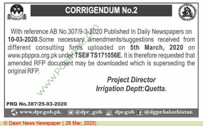 Irrigation Department Quetta Tender Notice