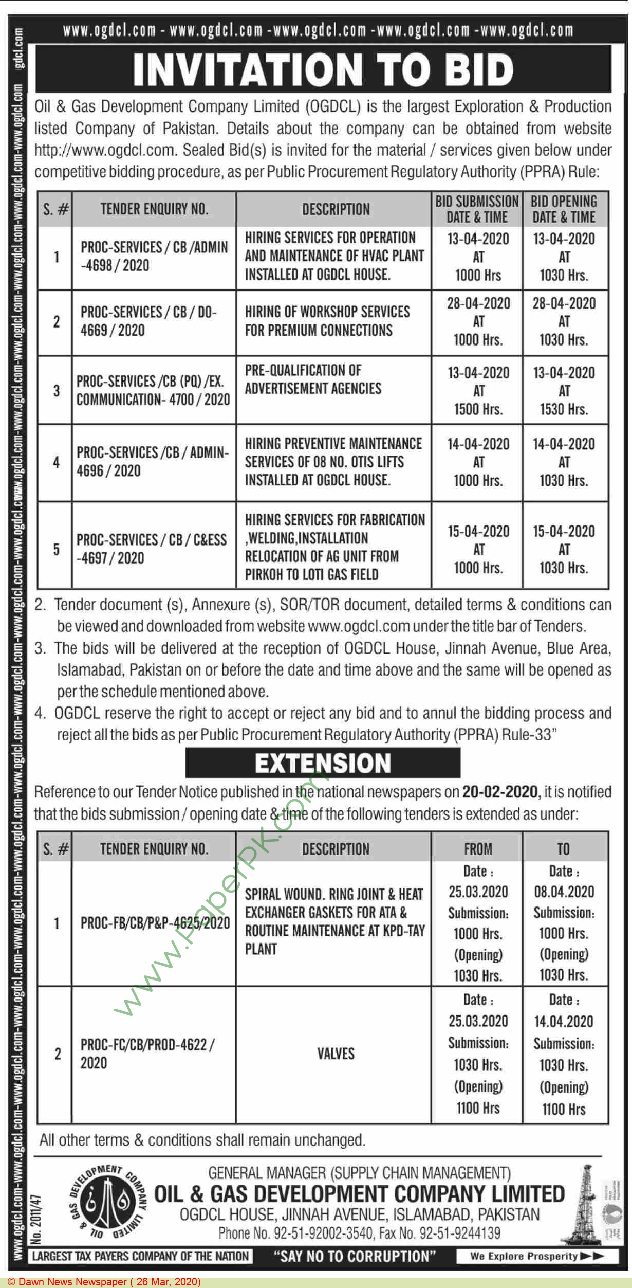 Ogdcl Islamabad Tender Notice.
