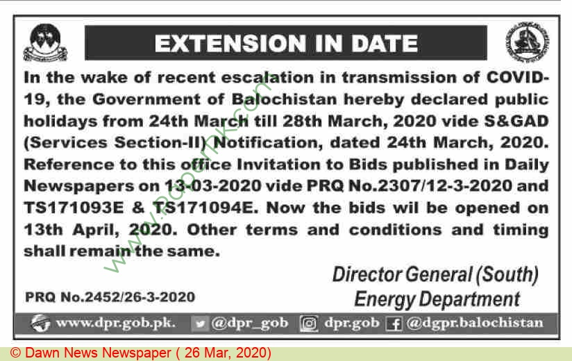 Energy Department Quetta Tender Notice