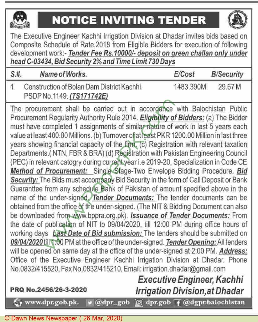 Irrigation Division Kachhi Tender Notice