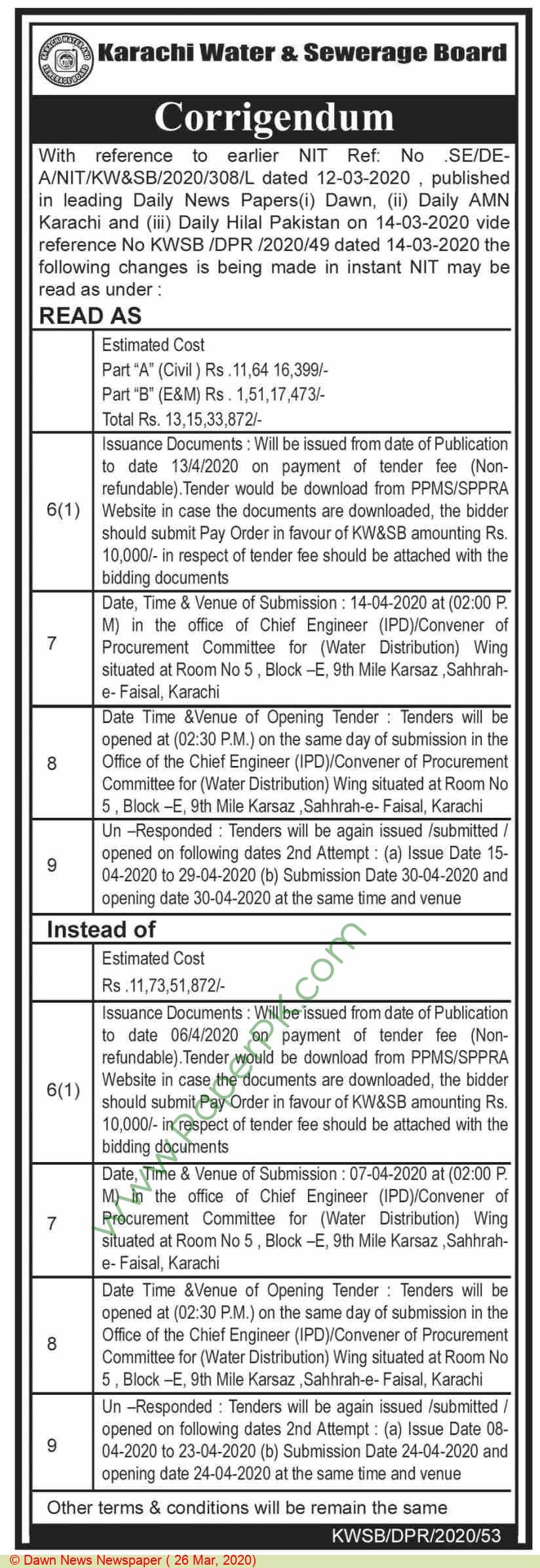 Karachi Water & Sewerage Board Karachi Tender Notice.