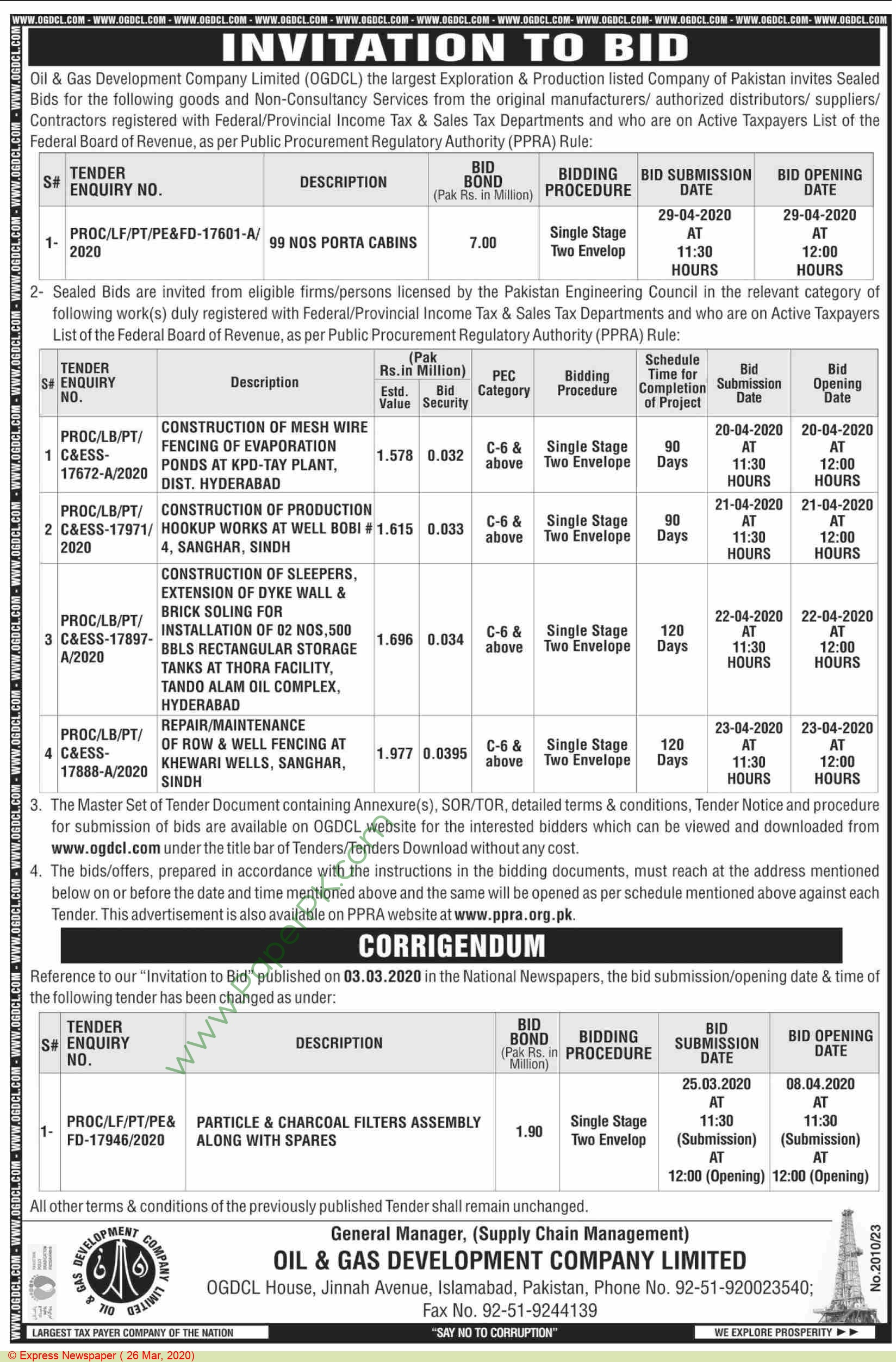 Ogdcl Islamabad Tender Notice