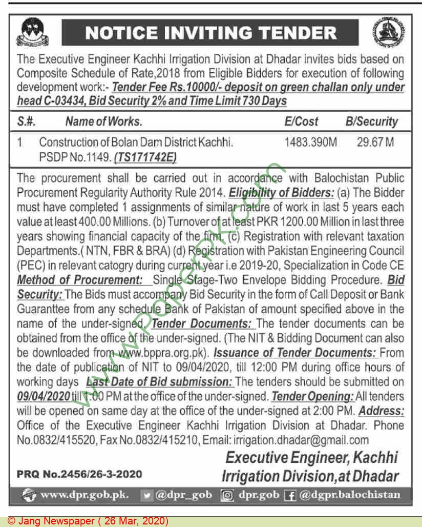 Irrigation Division Kachhi Tender Notice