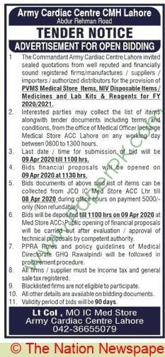 Army Cardiac Centre Cmh Lahore Tender Notice