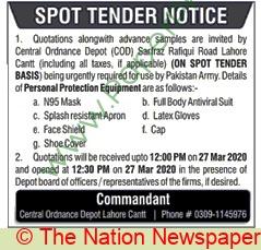 Central Ordnance Depot Lahore Tender Notice