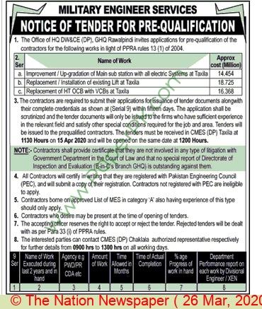 Mes Army Rawalpindi Tender Notice.
