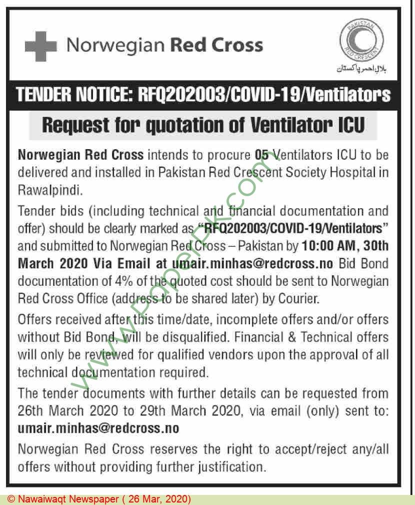 Pakistan Red Crescent Society Hospital Rawalpindi Tender Notice