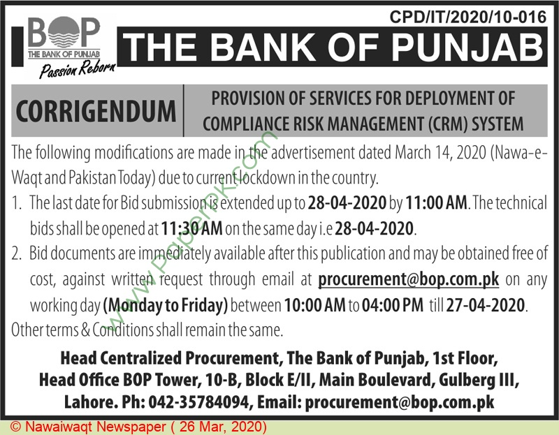 The Bank Of Punjab Lahore Tender Notice