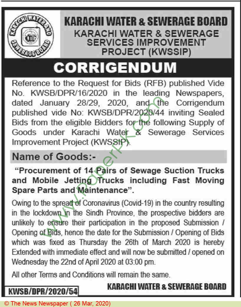 Karachi Water & Sewerage Board Karachi Tender Notice