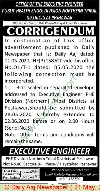 Phed Peshawar Tender Notice