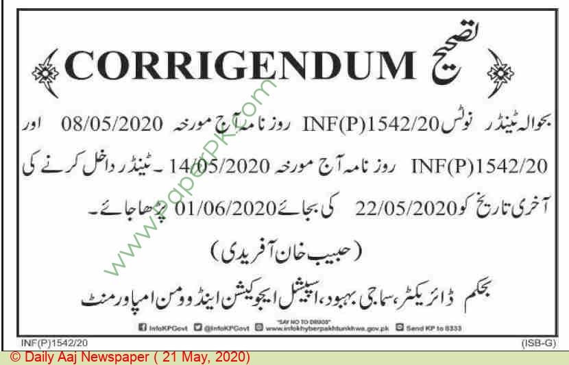 Special Education & Women Empowerment Peshawar Tender Notice