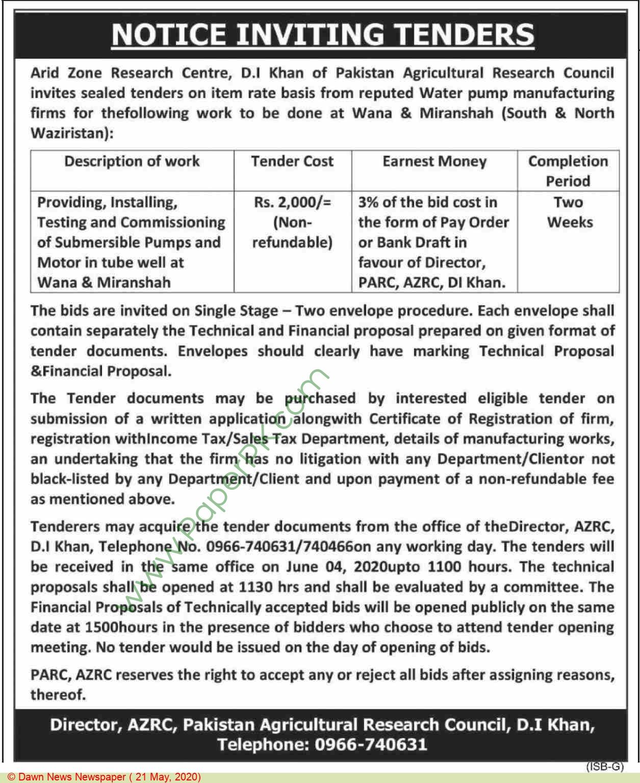 Arid Zone Research Center Dera Ismail Khan Tender Notice
