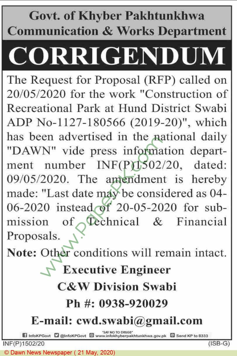 C & W Division Swabi Tender Notice