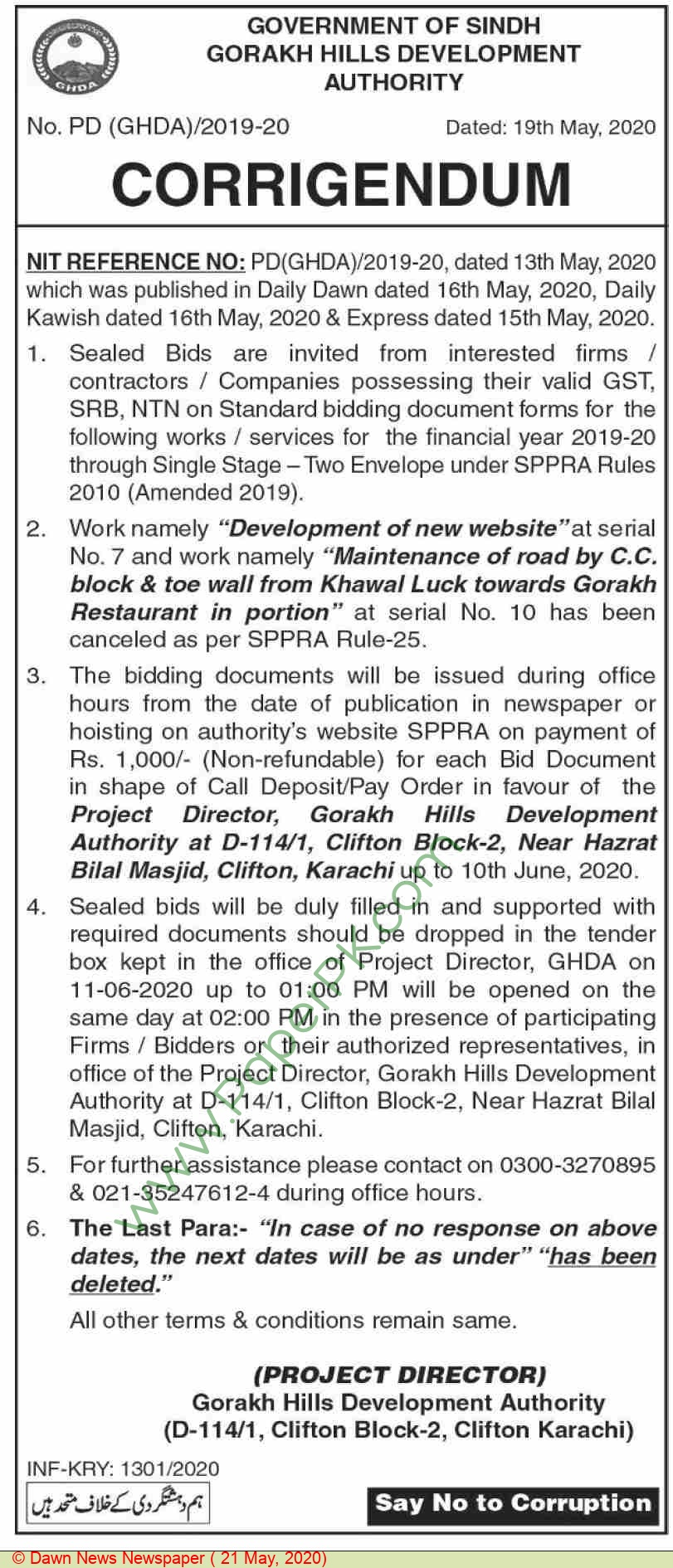 Gorakh Hills Development Authority Karachi Tender Notice