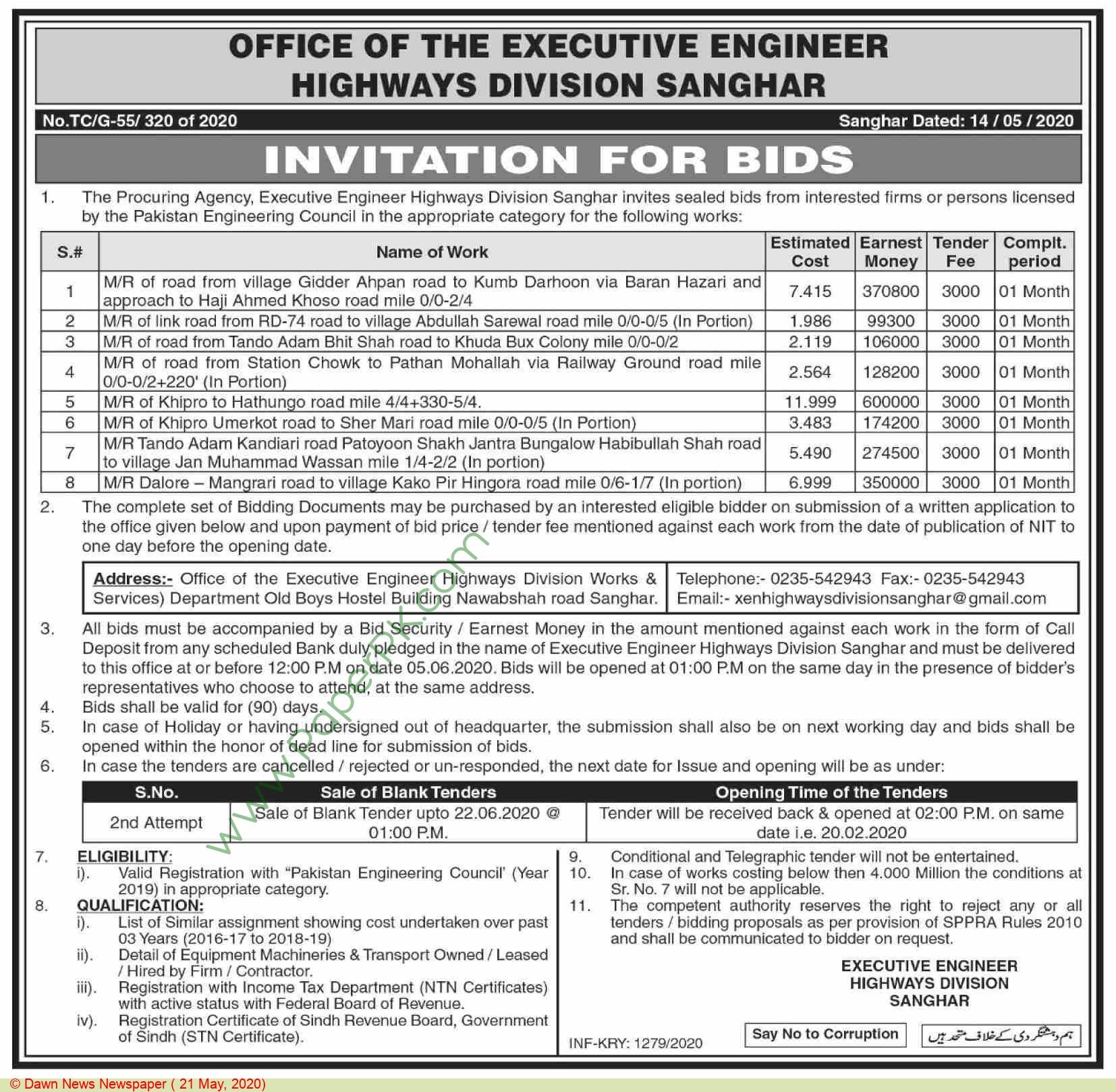 Highways Division Sanghar Tender Notice