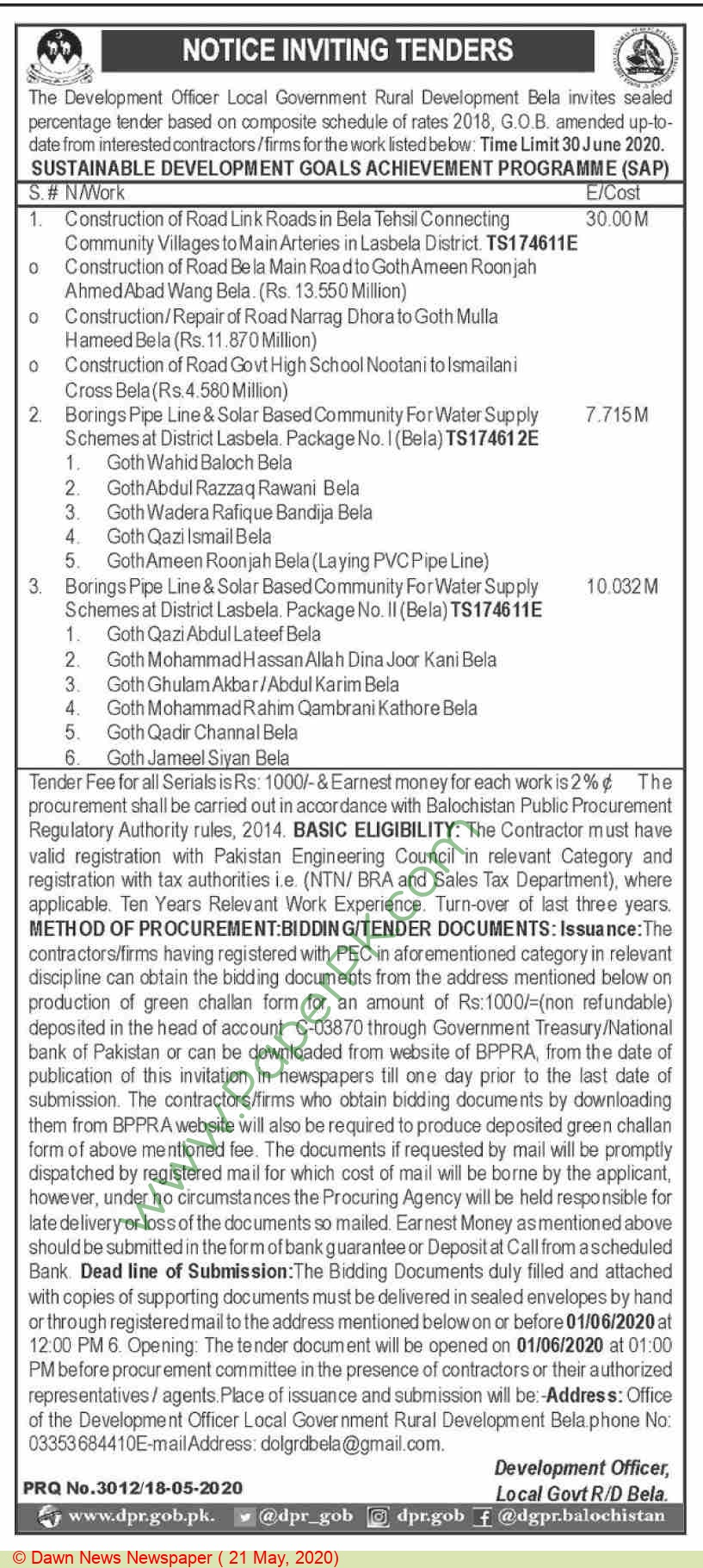 Local Government Bela Tender Notice