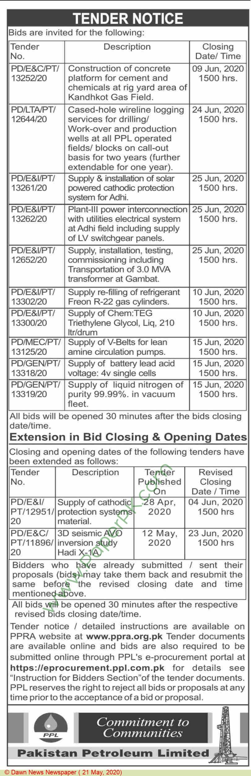 Ppl Karachi Tender Notice