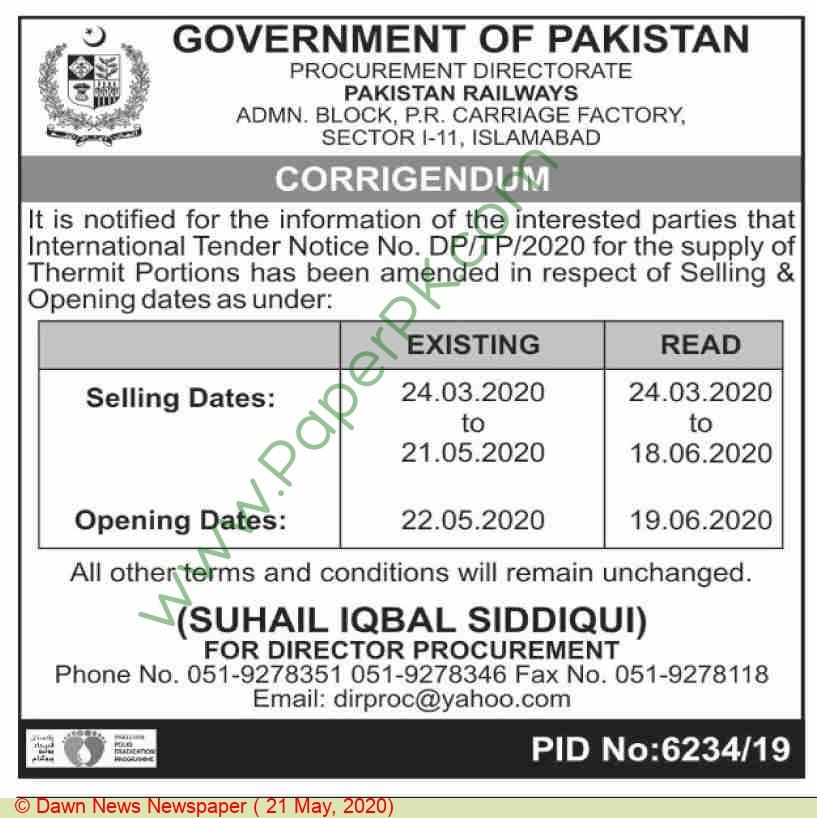 Pr Islamabad Tender Notice