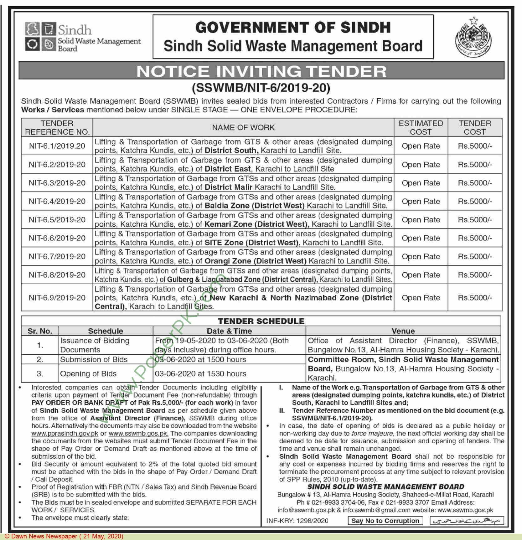 Sindh Solid Waste Management Board Karachi Tender Notice