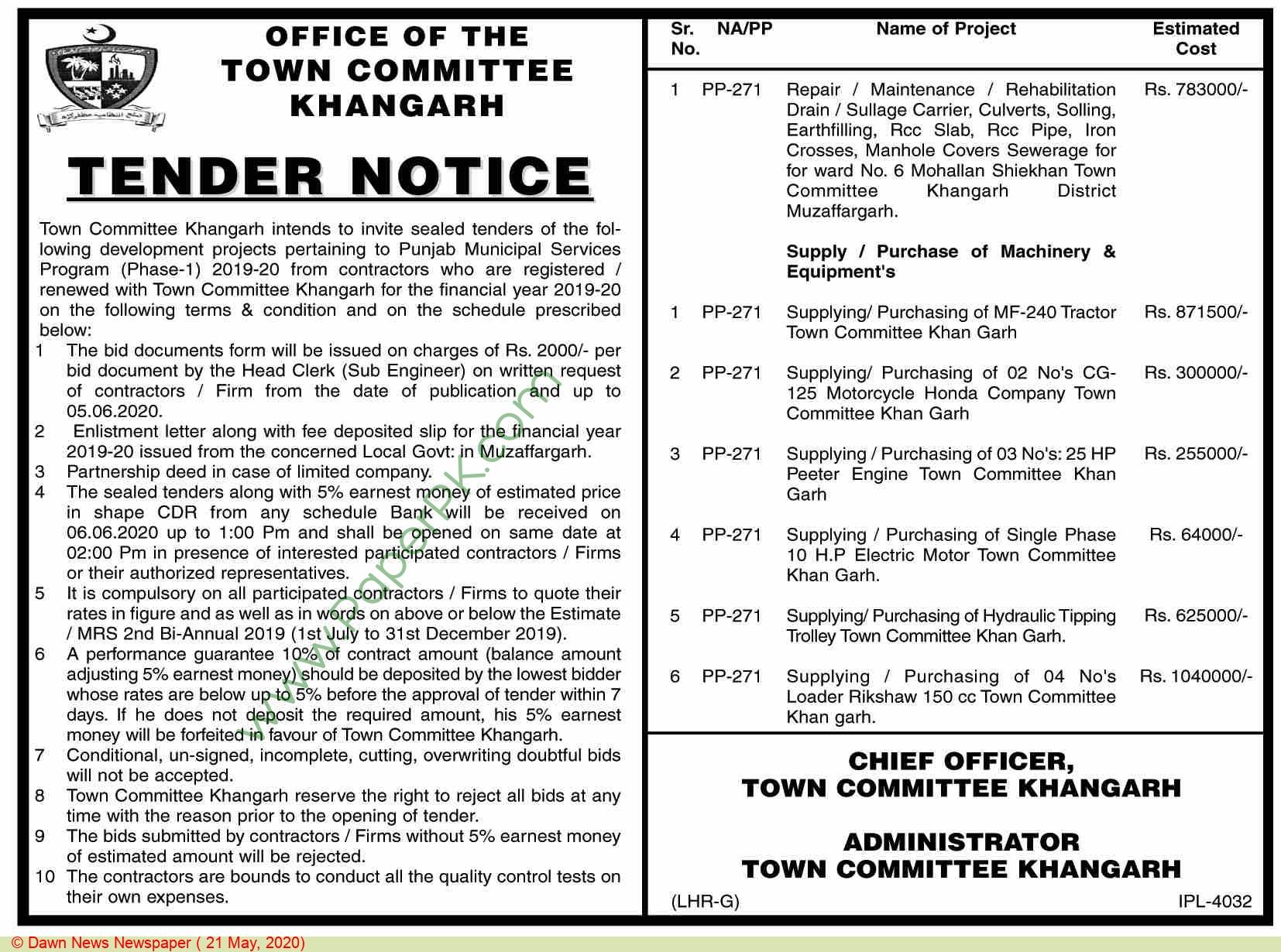 Town Comittee Khangarh Tender Notice
